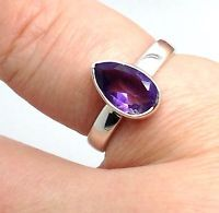 Amethyst faceted Pear ring, solid Sterling Silver, uk size P New actual one. Box