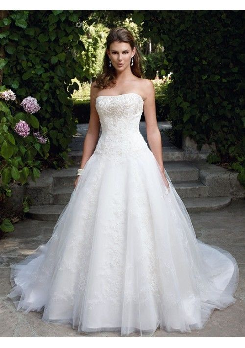 Elegant Lace onto Net Ball Gown Chapel Train Wedding Dresses