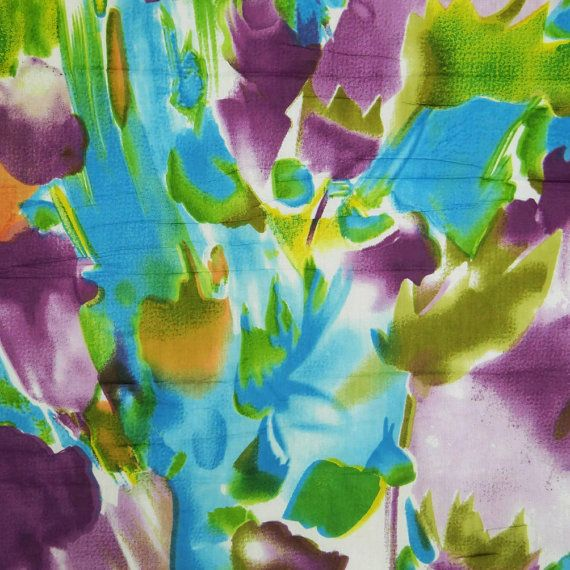Multicolor Cotton Rayon Abstract Printed Fabric Width 42