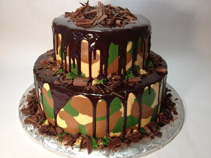 camo cake with chocolate ganache
