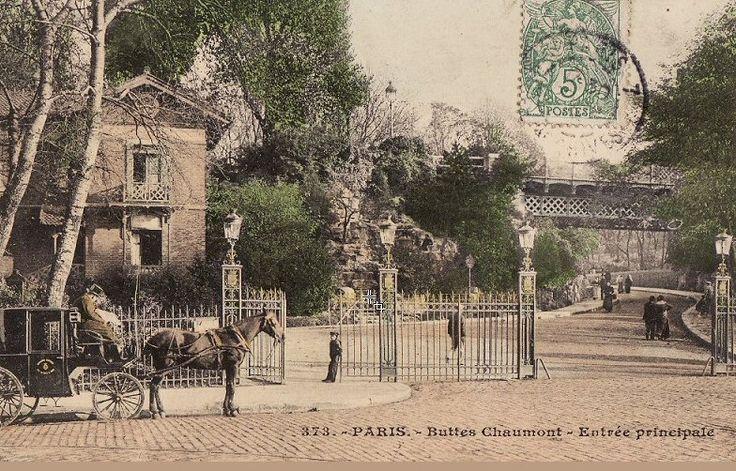 Paris 1900, autre vue de l'entrée principale du parc des Buttes-Chaumont.