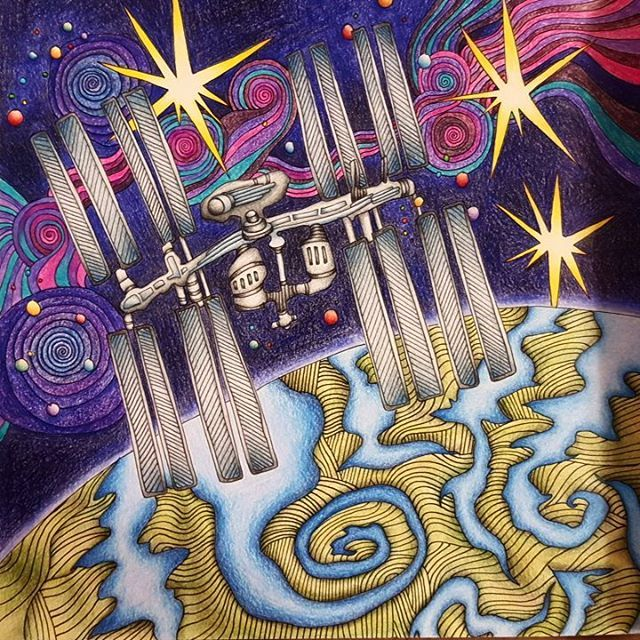 Internationalspacestation Lizziemarycullen Themagicalcity International Space StationCitiesMagic CityAdult ColoringColoring BooksSpacesPaintingBooks