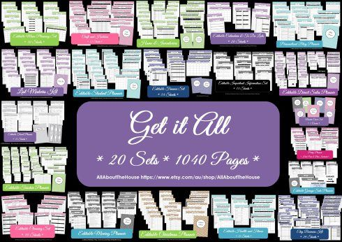 Get It All printable planner editable organize household binder instant download menu planning, direct sales, cleaning, Christmas, health + fitness, travel, business planner, moving planner, party planner, garage sale planner, blog planner, important info, medical, inventory, lists, student planner, teacher planner, finance, craft, calendar + to do lists, binder cover http://www.allaboutthehouseprintables.com.au/instant-download-bundles/purple-direct-sales-planner-editable-instant-download/