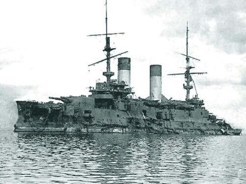 "Battleship ""Orel (Oryol)"" (Russian: Орёл) was a Borodino-class battleship built for the Russian Imperial Navy in the first decade of the 20th century. Oryol was badly damaged during the Battle of Tsushima in May 1905 and surrendered to the Japanese who put her into service under the name of Iwami (Japanese: 石見)."