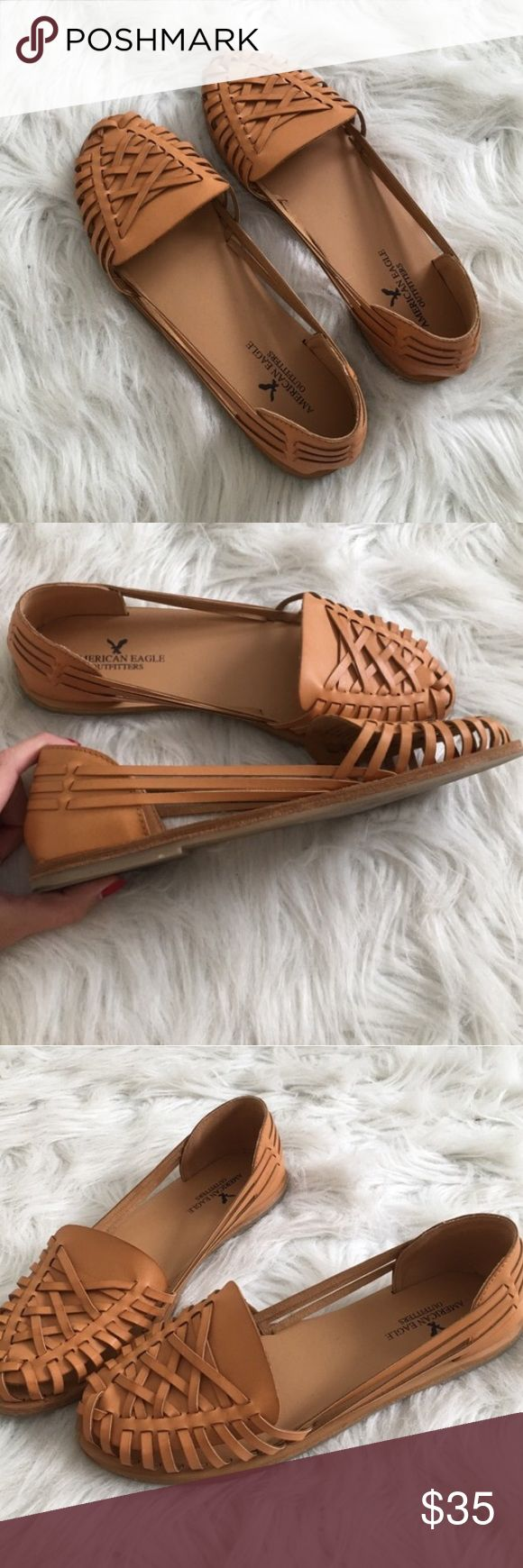 Tan huarache sandal American Eagle Strappy Mexican Bought these from another posher but unfortunately just a little too big. I am a 7.5 and these are a true 8! Gorgeous condition Love Love Love these Mexican style huarache Sandal! Very boho hippie vintage. Make an offer ☺️ American Eagle Outfitters Shoes Sandals