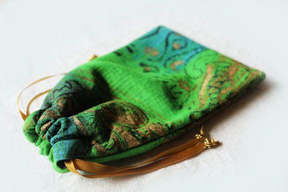 Hand Painted Green Tarot Bag, Angel Card Bag, Oracle Card Bag, Tarot Pouch, Lenormand Bag, Crystal Holder, Runes Bag, Jewelry Bag