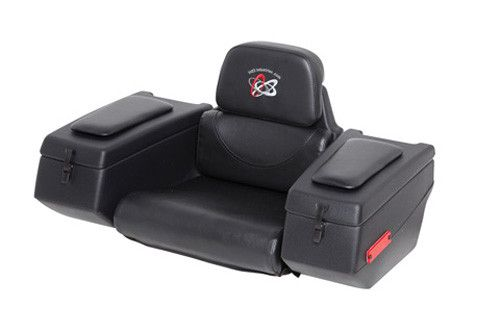 Part Number:123-0015 - Wide seat cushion with supportive backrest. - Padded arm rests. - Elastic snubbers on arms for secure travel. - Adaptable to a wide range of ATVs with rear racks. - Rear and sid