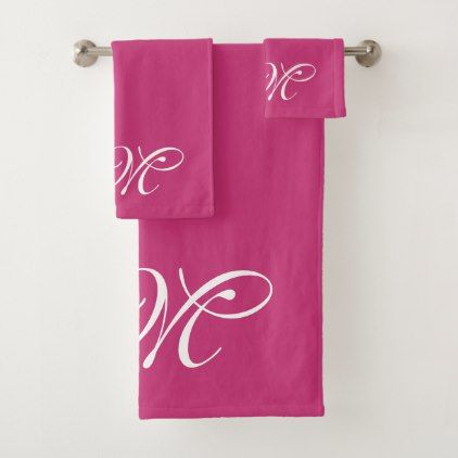 #Elegant Monogram Hot Pink Bathroom Towel Set - #sophisticated #gifts #giftideas #custom