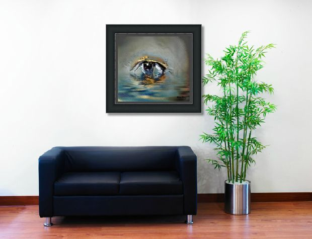 Never be afraid to try a new type of art in your home.  See how well this artwork works in a very simple space.