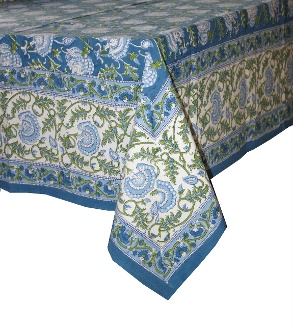 Blue Floral Oblong Table cloth, Home Textiles, inLotus.ca