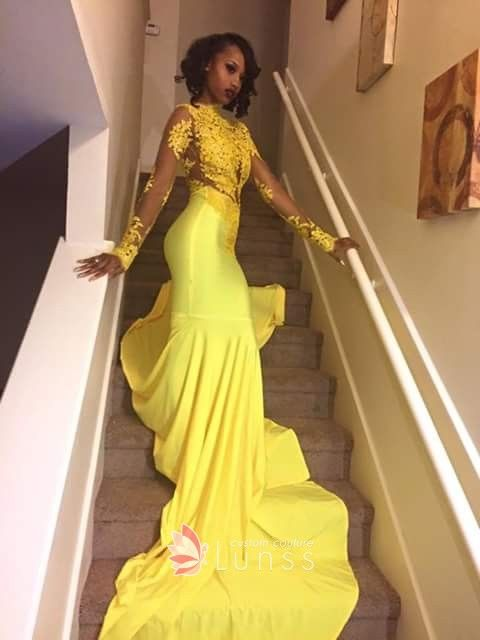 f210035b615 Illusion yellow lace and satin long sleeve high neck mermaid prom dress