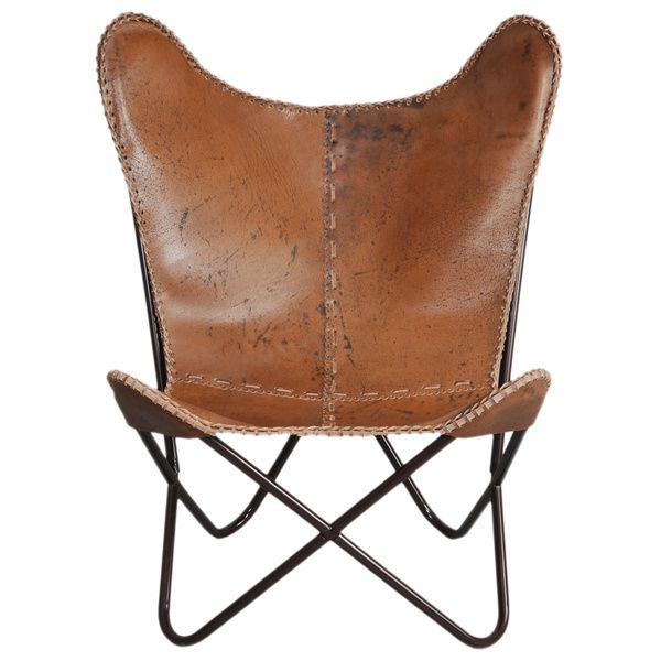 Horizon Brown Leather Butterfly Chair by Amrah Home | Butterfly ...
