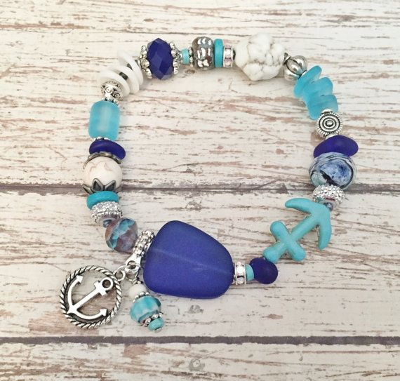 Ocean+Jewelry+Anchor+Bracelet+Ocean+Stacking+by+ThePaintedPearlSRQ