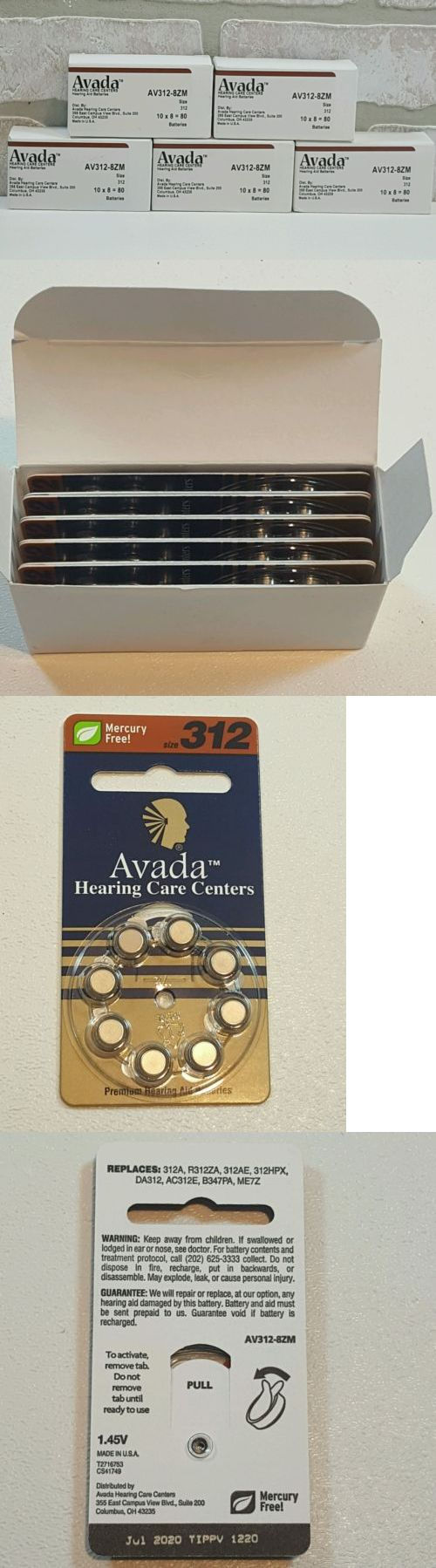 Single Use Batteries: New Hearing Aid Batteries Size 312 Five Boxes Of 10 -400 Batteries- 1.45V Fresh BUY IT NOW ONLY: $59.98