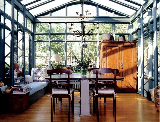 conservatory dining // madderlake: Green Houses, Dining Rooms, Spaces, Window, Sunrooms, Greenhouses, Sun Rooms, Rooftops, Glasses Houses