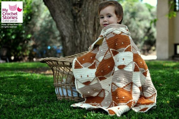 Crochet Baby Blanket Pattern, Fox Baby Blanket Pattern, fox afghan pattern, fox baby shower, unisex baby blanket, Instant PDF Download