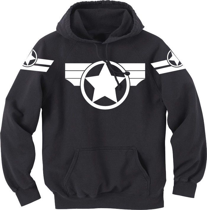"Super Soldier Hoodie - Captain America: The Winter Soldier (and Previously in the Cap Comics by MARVEL).  This is actually the comic-book look, but same idea.  It's almost ""Cap Stealth"".  This will be seen a lot more when CAP2 movie comes out in April.  For me, I'd go up to XXL, just to make sure I have room, especially for a sweatshirt."