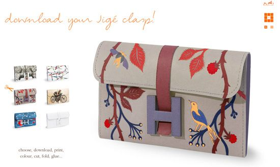 Down load the DIY your own paper Hermes Clutch - via Hermes