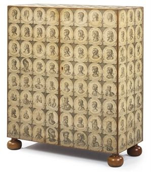 A SWEDISH DECOUPAGE CUPBOARD   BY JOSEF FRANK (AUSTRIAN), CIRCA 1940-50, FOR SVENSKT TENN, STOCKHOLM. Applied with printed images of Roman Emperors, resting on bun feet.
