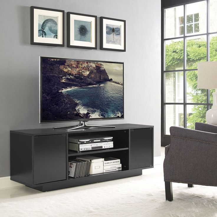 Portal Black Wood Glass Doors 60 inch TV Stand