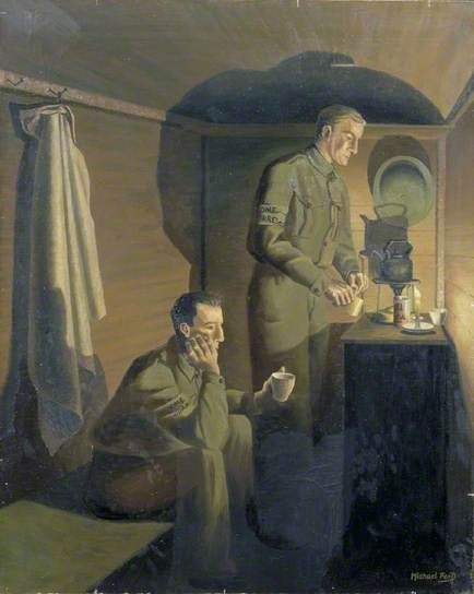 Michael Ford (1920-?), British / Home Guards Brewing Tea Just before Dawn, 1941, oil on canvas ... WWII British Home Guard soldiers in a cramped hut making tea by candlelight / Imperial War Museum, London, UK