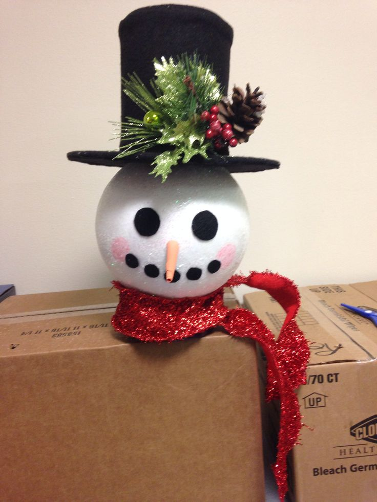 homemade snowman tree topper holidays pinterest. Black Bedroom Furniture Sets. Home Design Ideas