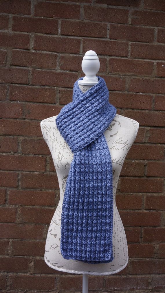Hand Knitted Blue Color Hand-Knitted Acrylic Scarf by UllyWoolly