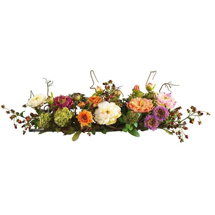 Nearly Natural 4665 Mixed Peony Centerpiece Silk Arrangement Permanent Flower   ATG Stores