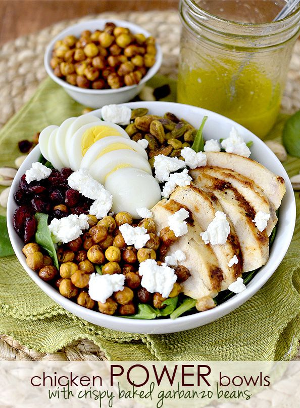 Gluten-free Chicken Power Bowls with Crispy Baked Garbanzo Beans will keep you full for hours!   iowagirleats.com