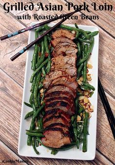 Sweet Grilled Asian Pork Loin with Roasted Green Beans | 2CookinMamas  Quick & easy dinner. Marinate, pat spice rub on then grill for 20 minutes. While meat is grilling, roast green beans in oven for a complete healthy dinner.