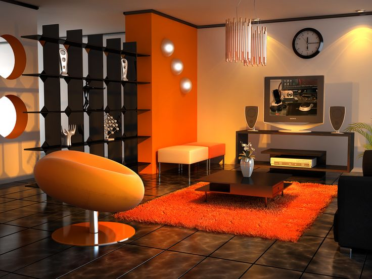 Living room black orange tangerine tango decor - Burnt orange feature wall living room ...