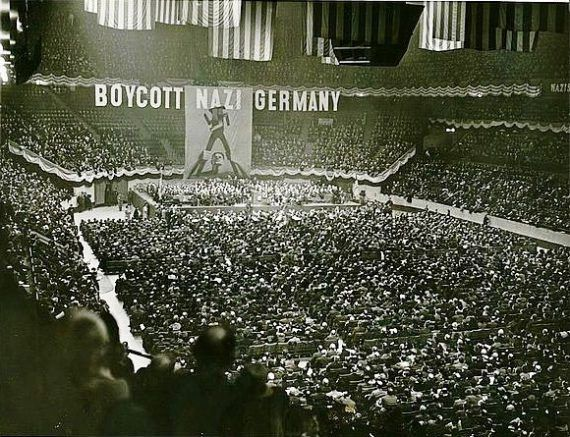 It is important to know that as early as 1933, American Jews organized a nation-wide boycott of Nazi-Germany. Such a show of support, in so united a way is seen in this picture from a rally in 1937.   But what next? There were many voices urging the U.S. to not get involved in the war in Europe. An astute politician like Franklin Roosevelt continued to placate the anti-Semites and would continue to say the murder of the Jews of Europe would stop when  the Germans were totally defeated.