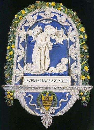 Andrea della Robbia - Madonna in adorazione del Bambino con due cherubini  #TuscanyAgriturismoGiratola
