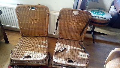 Two Vintage Antique  Wicker Folding Canoe Fishing Picnic Seats