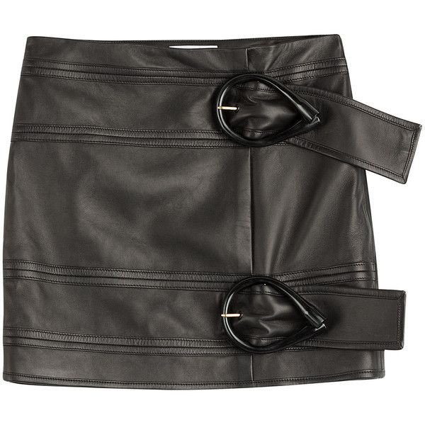 J.W. Anderson Leather Mini Skirt (19,125 THB) ❤ liked on Polyvore featuring skirts, mini skirts, bottoms, black, short skirts, slim skirt, anchor skirt, leather miniskirt and textured skirt