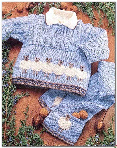 Delicadezas en crochet Gabriela: Pullover y una bufanda con los corderos