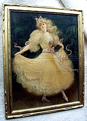 Victorian Dancing Lady Antique Framed Woodcut,The Sketch