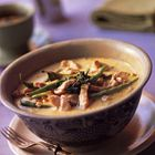 (paprika + cashews ipv kip) Thaise curry met kip, sperziebonen en kokos    Note to self: dubbele hoeveelheid maken, saus invriezen