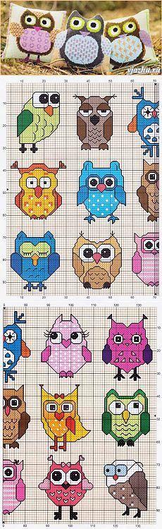 Волшебные палочки-вязание и вышивка - Статьи: Схемы вышивки сов