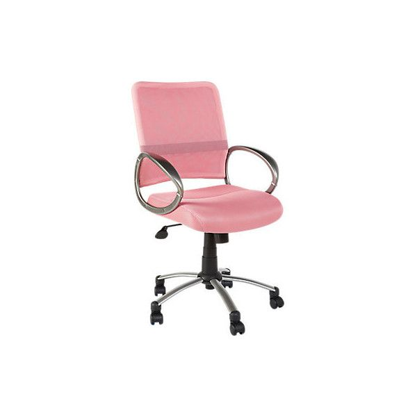 Study Break Pink Desk Chair (£77) ❤ liked on Polyvore featuring home, furniture, chairs, office chairs, adjustable chair, adjustable desk chair, pink furniture, pink chair and pink desk chairs