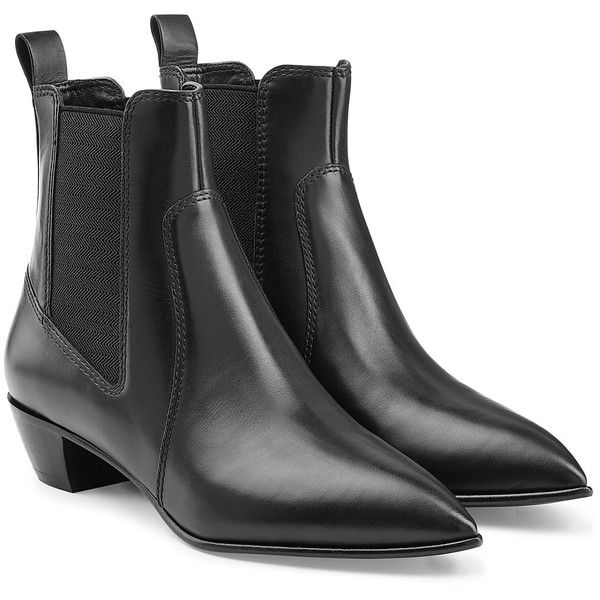 Marc by Marc Jacobs Leather Chelsea Boots (507 AUD) ❤ liked on Polyvore featuring shoes, boots, ankle booties, black, black booties, slip on boots, leather booties, black pointed toe booties and black ankle booties