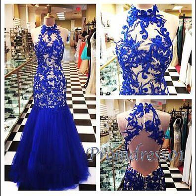 2016 beautiful high neck navy blue lace tulle long prom dress, ball gown, occasion dress #coniefox #2016prom
