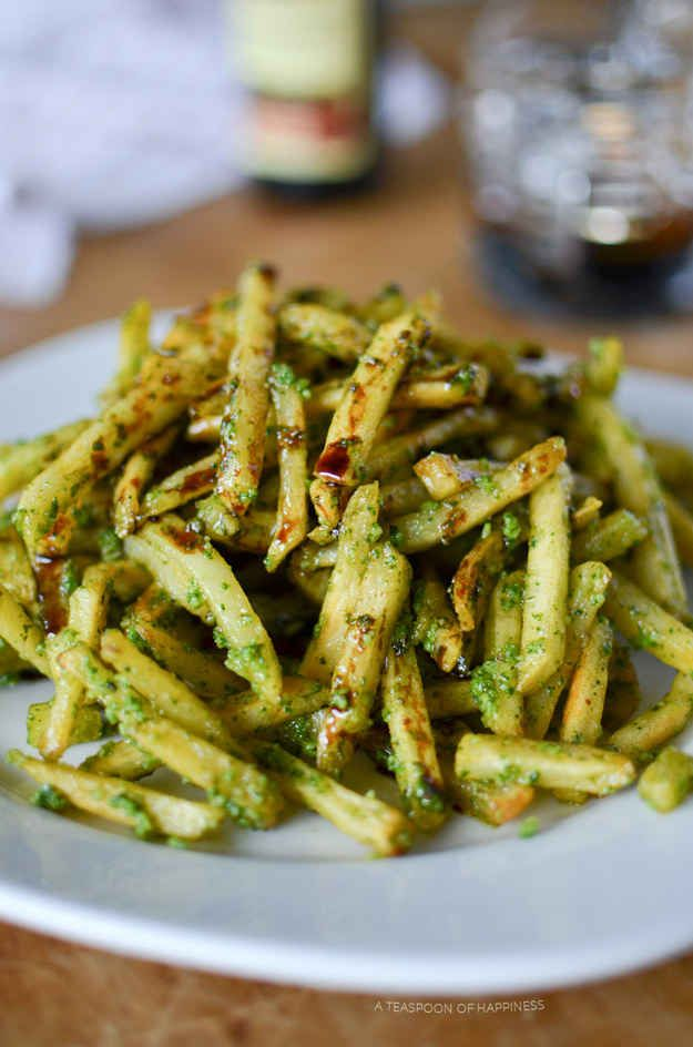 Pesto Fries with Balsamic Reduction
