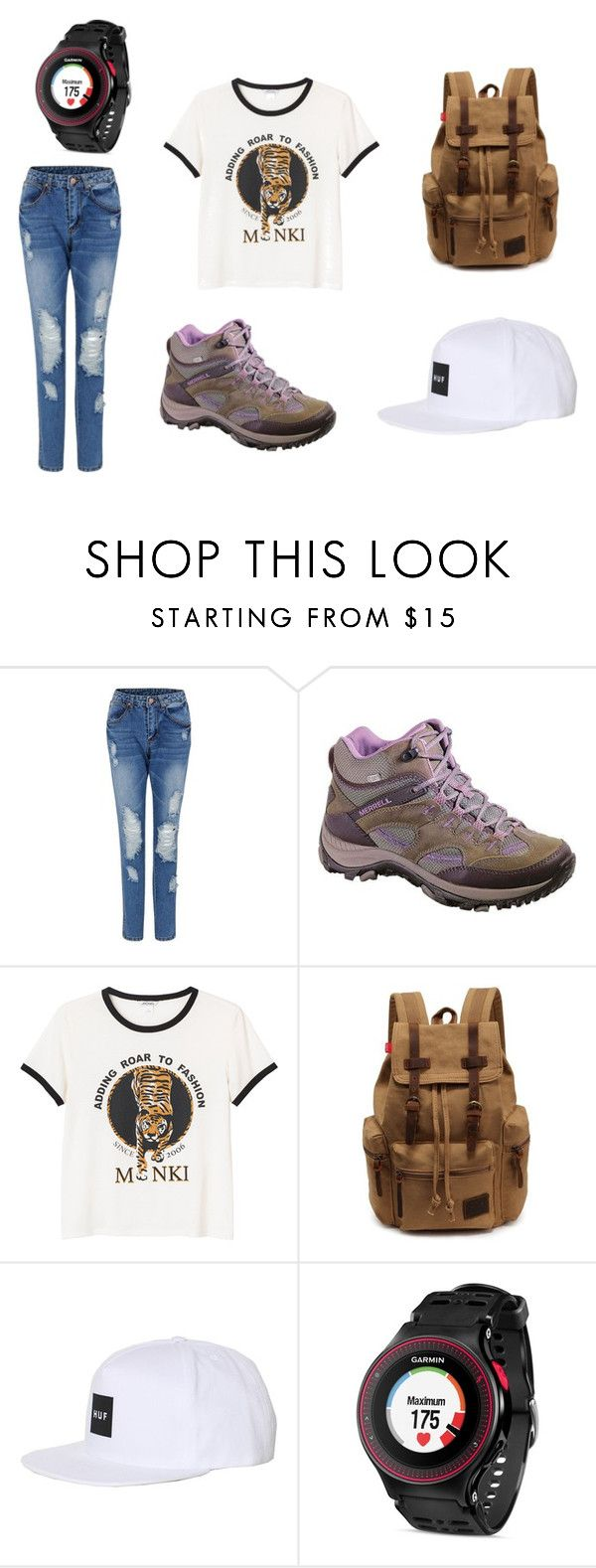 """Adventure"" by clarairawan on Polyvore featuring Merrell, Monki, HUF and Garmin"