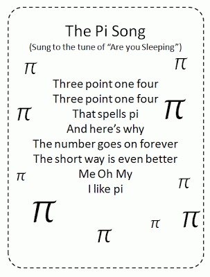 Pi song! So cute. (Though, I think it would be better, syllabically, for the one line to be 'It goes on forever' and the next to be 'The short way's even better')