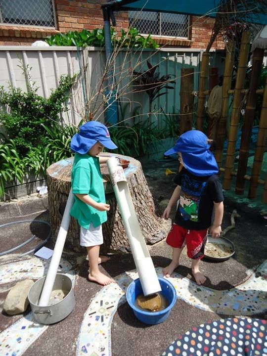 """Marble run with old pvc pipes & marbles at Elder Street Early Childhood Centre ("""",)"""