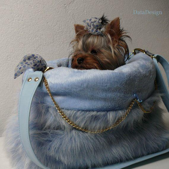 En bleu - support pour petit chien - Cuddle Bag - Sac chien - bleu