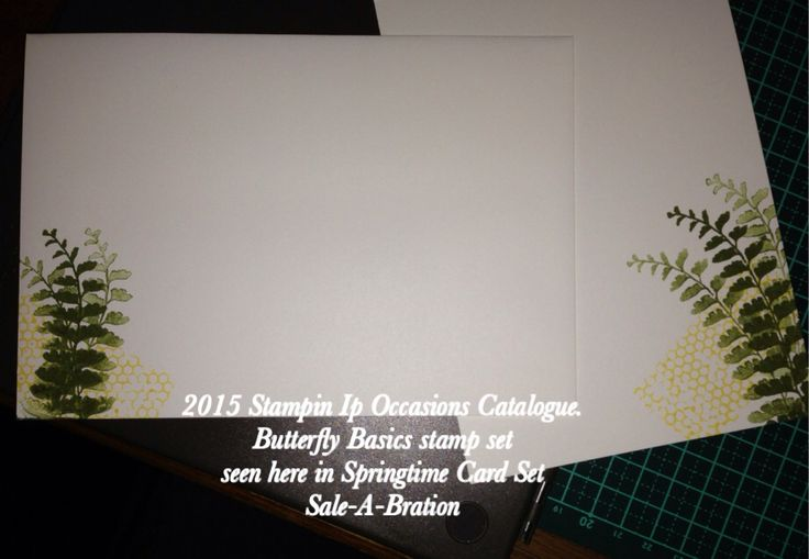 2015 Stampin Up Occasions Catalogue. Butterfly Basics stamp set seen here in Springtime Card Set Sale-A-Bration Stampinwithsim.stampinup.net Inside of card seen on right