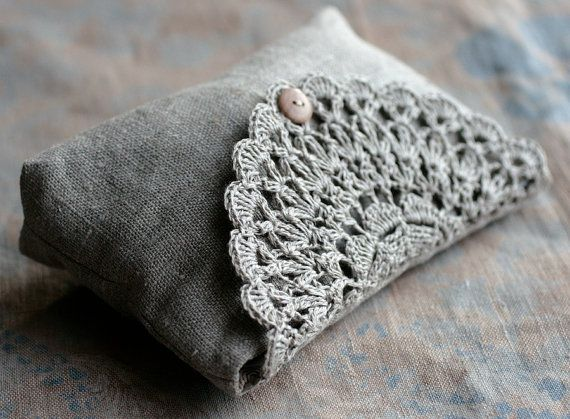 Linen clutch pouch purse makeup bag  crocheted detail by namolio, $35.00