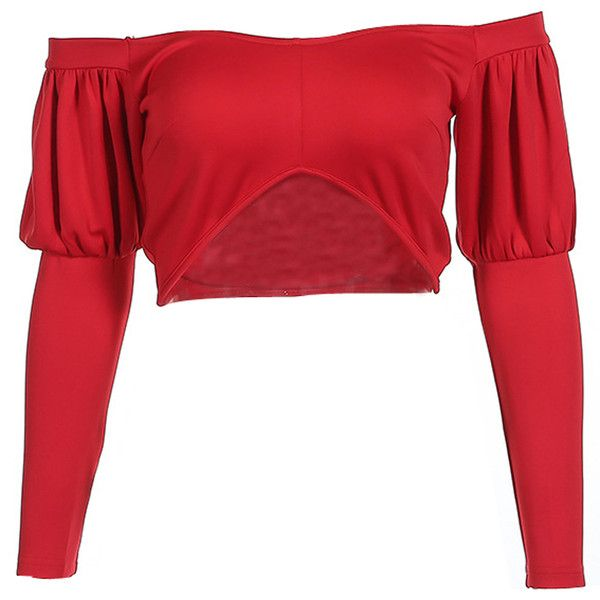 Red Off Shoulder Long Sleeve Cropped T-shirt ($17) ❤ liked on Polyvore featuring tops, t-shirts, long-sleeve crop tops, long white t shirt, long sleeve tops, red t shirt and crop t shirt